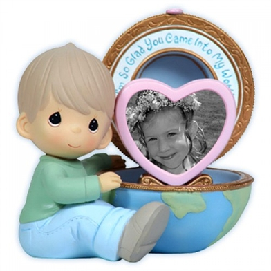 Boy with Globe Photo Frame - Precious Moments Figurine, 113100