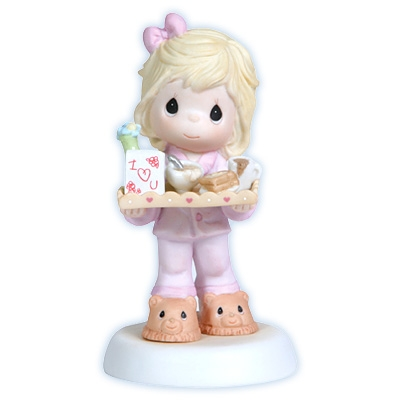 Girl Serving Breakfast in Bed for Mom - Precious Moments Figurine, 114001