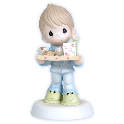 Boy Serving Breakfast in Bed for Mom - Precious Moments Figurine, 114002