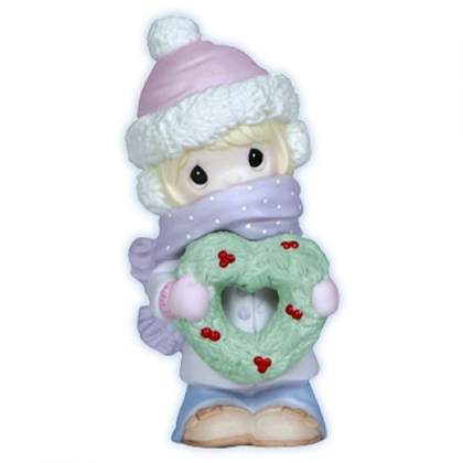 Girl Bundled Up Holding Heart Wreath - Precious Moments Figurine, 121000