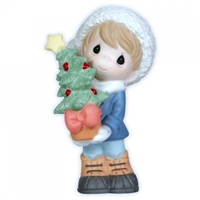Boy with Christmas Sapling - Precious Moments Figurine, 121008
