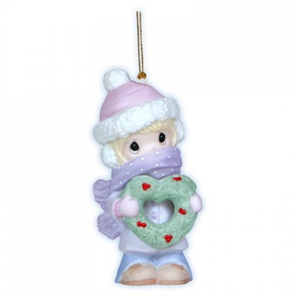 Girl with Christmas Wreath - Precious Moments Ornament, 121010