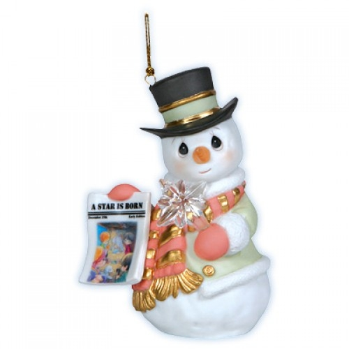 snowman with newspaper precious moments christmas ornament 121026 - Precious Moments Christmas Ornaments