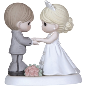 Precious Moments Figurine Wedding Couple Holding Hands, 123017