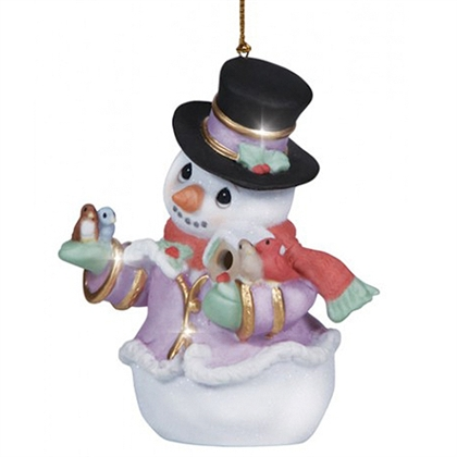 Snowman With Birds Precious Moments Christmas Ornament