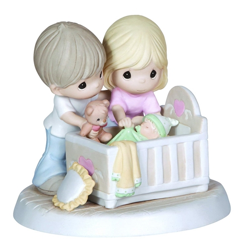 Precious Moments Parents with Baby in Crib Figurine, 132002