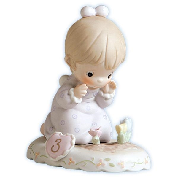 Brunette Birthday Girl, Age 3 - Precious Moments Growing in Grace Figurine, 136220B