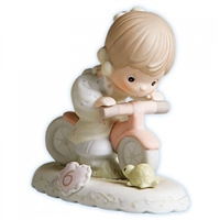 Brunette Birthday Girl, Age 6 - Precious Moments Growing in Grace Figurine, 136255B