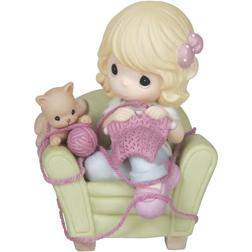 Precious Moments Girl Knitting with Cat 144014