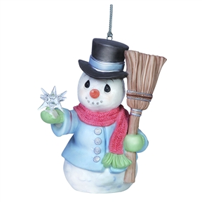 Precious Moments Snowman with Star and Broom Ornament