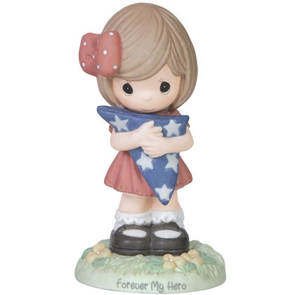 Precious Moments Girl Holding American Flag Figurine