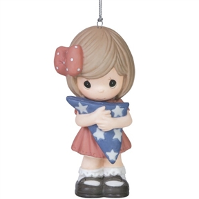 Precious Moments Girl with Folded Flag Ornament