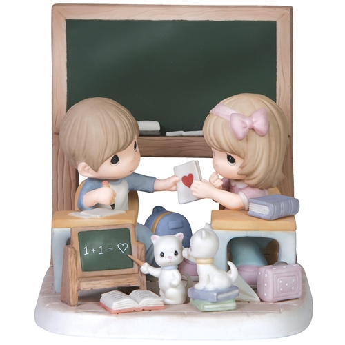 Precious Moments Young Couple Pass Love Note in Class Figurine 151055