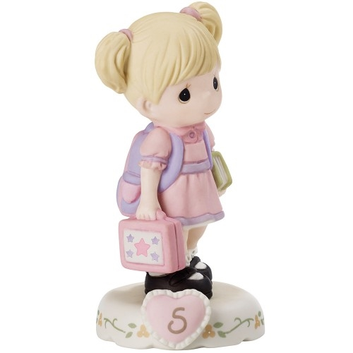Precious Moments Growing in Grace Blonde Girl Age 5 Going to School Figurine