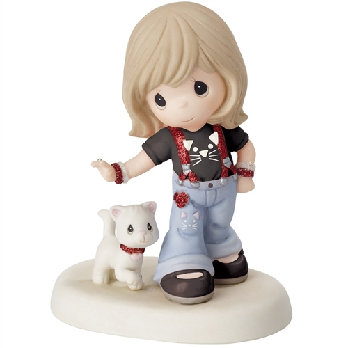 Precious Moments Girl Walking Cat Figurine 152013