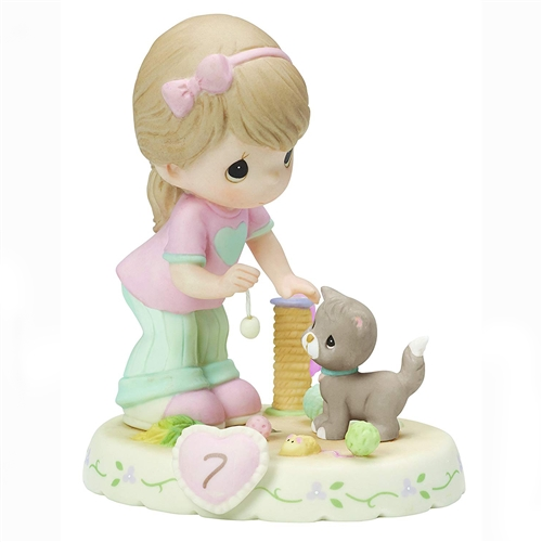 Precious Moments Brunette Girl Playing with Kitten, Growing in Grace, Age 7, Figurine, 154034B