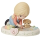Precious Moments Growing in Grace Blonde Girl Age 8 Sidewalk Chalk Figurine 154035