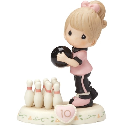 Precious Moments Growing in Grace Brunette Girl Age 10 Bowling Figurine 154037B