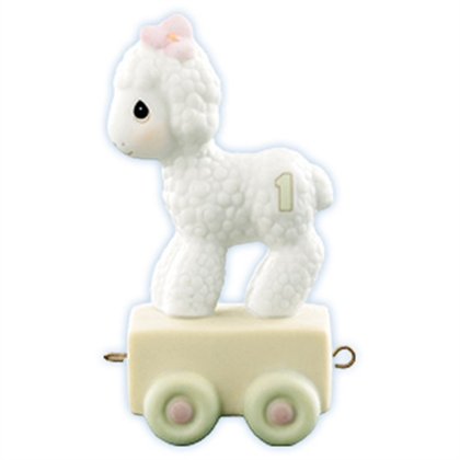 Lamb Birthday Train, Age 1 - Precious Moments Figurine, 15946