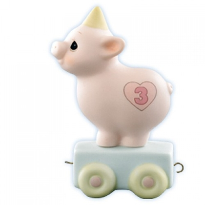 Piglet Birthday Train, Age 3 - Precious Moments Figurine, 15954