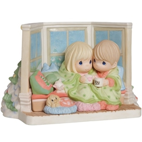 Precious Moments Couple Sharing Cocoa by Window Limited Edition