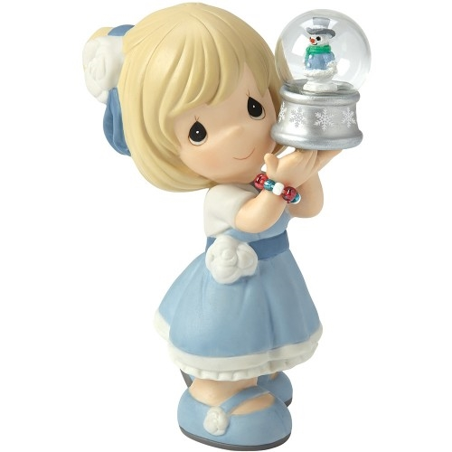 Precious Moments Girl Holding Snow Globe Figurine