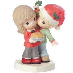 Precious Moments Couple with Dessert and Mistletoe
