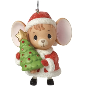 Precious Moments Santa Mouse with Tree Bell Ornament
