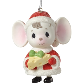 Precious Moments Mouse with Cheese, Bell Ornament