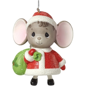 Precious Moments Mouse with Gift Bag Bell Ornament
