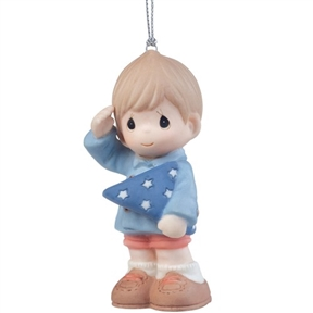 Precious Moments Boy Holding Folded Flag Ornament
