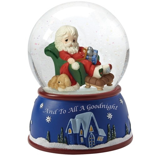 Precious Moments Santa Sleeping in Recliner Musical Snow Globe 161103