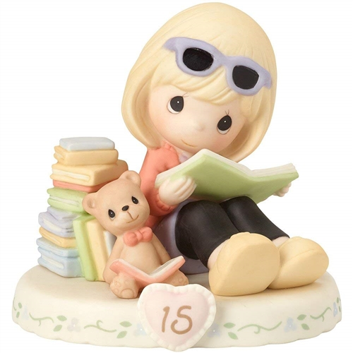 Precious Moments Blonde Girl with Books, Growing in Grace, Age 15, Figurine, 162014