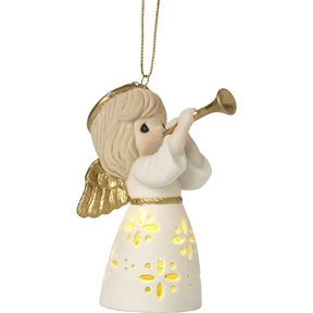 Precious Moments Light-up Angel with Trumpet Hanging Ornament 171025