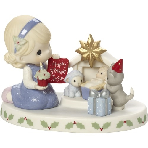 Precious Moments Girl with Nativity Figurine