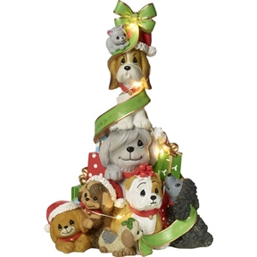 Precious Moments Stacked Dogs Musical Light-up Tree
