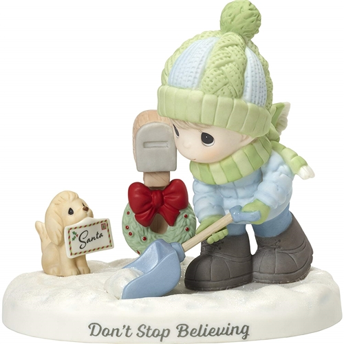 Precious Moments Boy Shoveling Snow by Mailbox Figurine, 181013