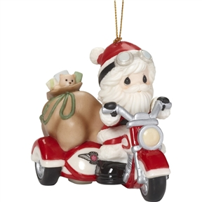 Precious Moments Santa on Motorcycle with Sidecar Ornament, 181035