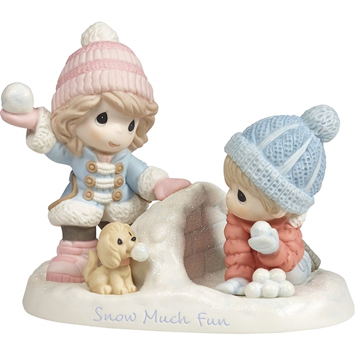 Precious Moments Boy and Girl Playing in Snow Figurine, 181036