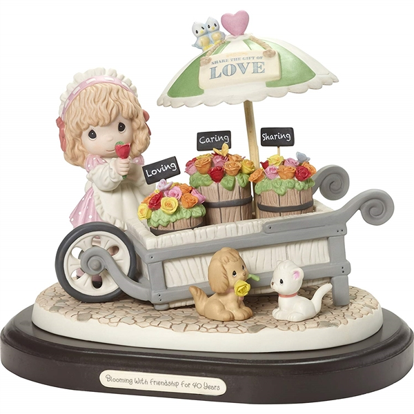 Precious Moments Flower Cart Anniversary Figurine 189703