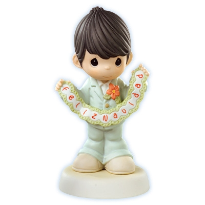 Boy with Feliz Navidad Banner - Precious Moments Figurine, 610020