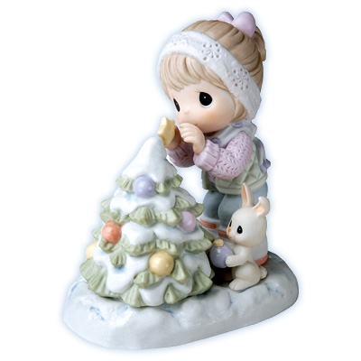 Girl Helps Rabbit Decorate Christmas Tree - Precious Moments Figurine, 710017