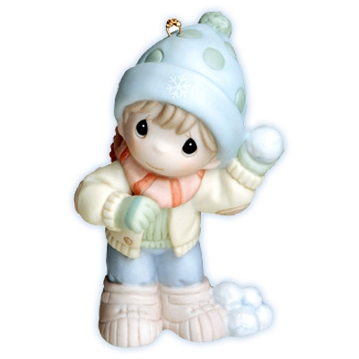 Boy with Snowballs - Precious Moments Ornament, 710019