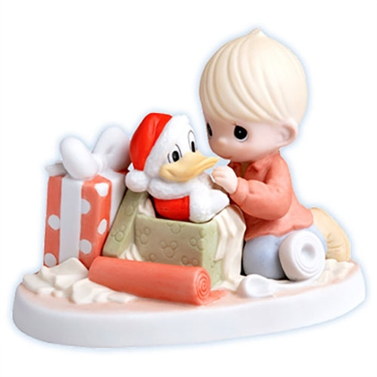 Boy Opening Donald Duck Christmas Present - Precious Moments Figurine, 710038