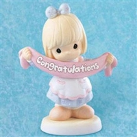 Girl Holding Congratulations Banner - Precious Moments Figurine, 795259