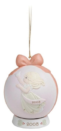 Angel with Dove - Precious Moments 2008 Dated Christmas Ornament, 810003