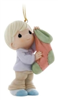 Boy Hanging Stocking - Precious Moments Ornament, 810042