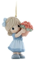 Girl with Christmas Poinsettias - Precious Moments Ornament, 810044