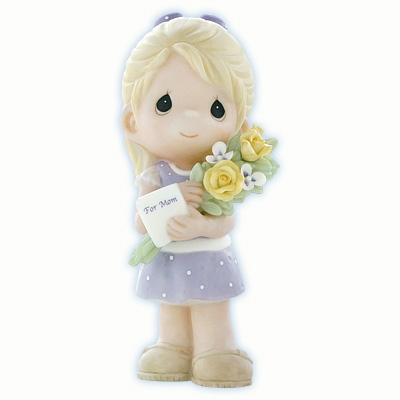 Girl Bringing Flowers and Card for Mom Precious Moments Figurine 840001