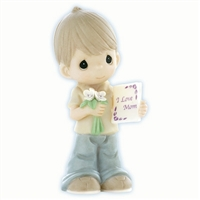 Boy with Flowers and Card for Mom - Precious Moments Figurine, 840002